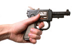 hand with an old toy-gun isolated on white poster