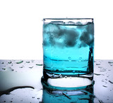 Glass with blue beverage and ice poster
