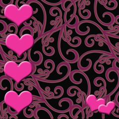 Pink Hearts on Paisley