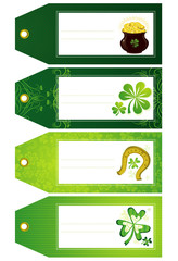 green labels with shamrock