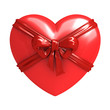 Red heart with ribbon isolated