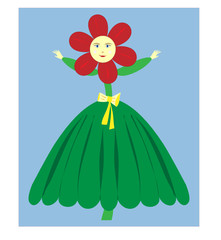 Flower Girl Vector - Illustration