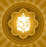 Lord Ganesha On Lotus Background poster