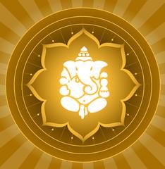 Lord Ganesha On Lotus Background
