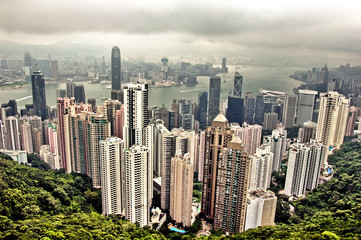 Cityscape of Hong Kong from Victoria Peak, China