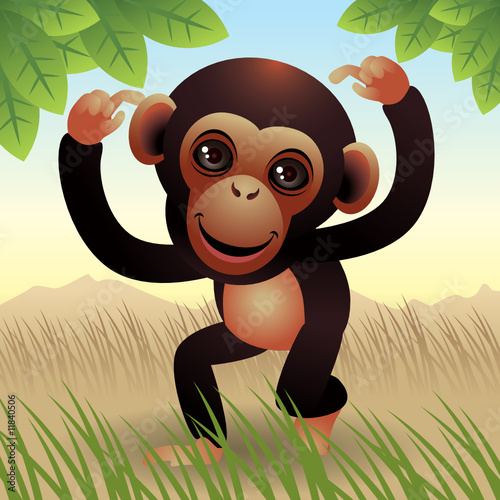 Tuinposter Zoo Baby Animal collection: Monkey. More animals in my gallery.