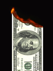 Burning money (dollar)