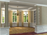 Classic 3D luxurious interior with hardwood floors poster