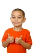 Five year old boy giving thumbs up