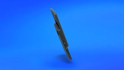 Téléphone portable sur fond bleu