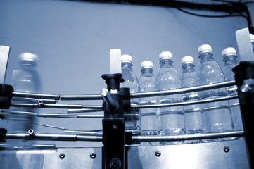 water bottles on conveyor belt