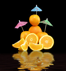 Composition from oranges with reflexion in water 2