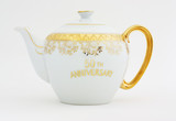 Ornate gold decorated teapot for fiftieth anniversary. poster