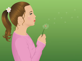 Girl with dandelion.