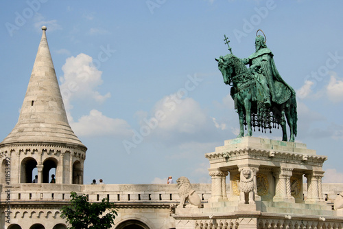 Statue of King Stephen at Budapest Fishermen's Bastion