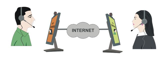 Vector Internet Video Conferencing Illustration