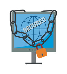 Vector Illustration of a Secured Computer