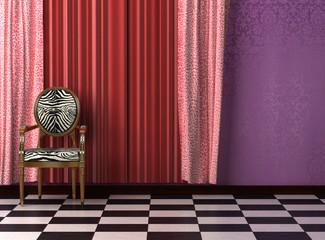 Playful, garish kitsch animal print interior visualisation.