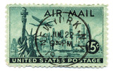 Old postage stamp from USA 15 cents New York 22 jul 1957