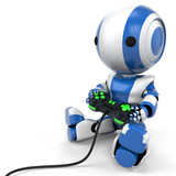 Blue Robot Holding Video Game Controller poster