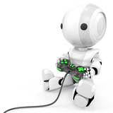 Robot Holding Video Game Controller poster