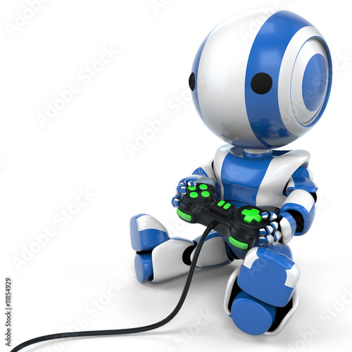 poster of Blue Robot Holding Video Game Controller