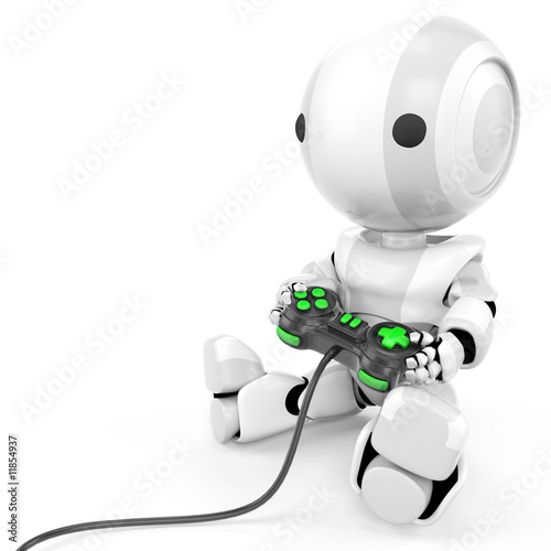 poster of Robot Holding Video Game Controller