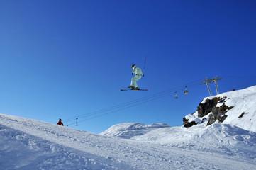 skier on high jump