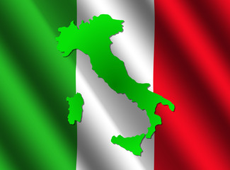 Italy map on flag