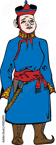 Eastern boy in traditional clothes vector illustration