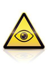 Danger vous êtes surveillé (reflet métal)