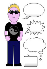 Cool guy Cartoon - With speech / thought Set - Isolated