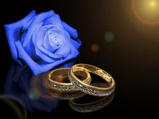 Anelli in oro con rosa blu