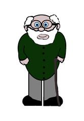 Old Grandad Cartoon - Isolated On White