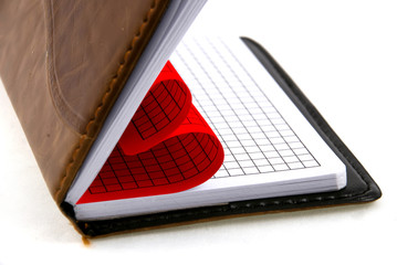 pages of a notebook curved into a heart shape..