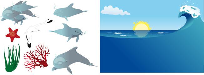 Delfini vettoriali (elementi separati)