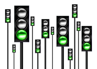 Green light traffic lights