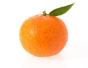 Clementine mit Blatt