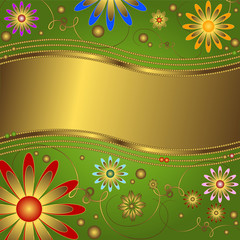 Golden-green  floral background