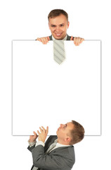 two businessmen with board collage