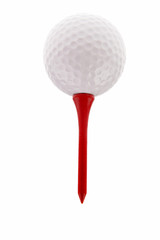 Golf ball and tee over white