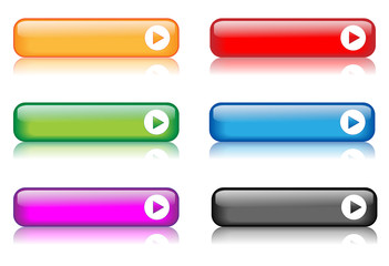 Rectangular Web Buttons (various colours / with reflections)