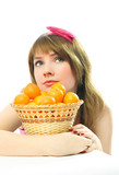 beautiful dreamy girl with tangerines poster