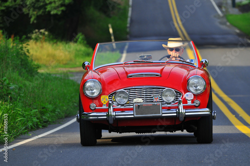Leinwandbild Motiv Cassic car driver