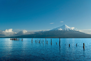 Snow peeked volcano, Chile, view from the lake