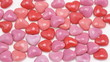 Heart shaped candies, stop motion animation, time lapse