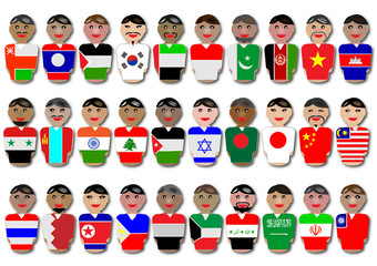 Representative people from Asia dressed in their national flags