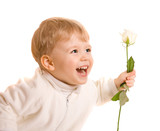 Happy liitle boy giving flower on white background