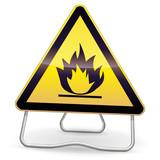Panneau de danger inflammable (ombre) poster