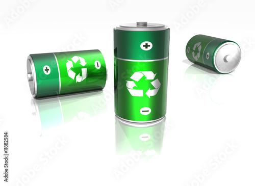 Leinwanddruck Bild Piles électriques -  recyclable